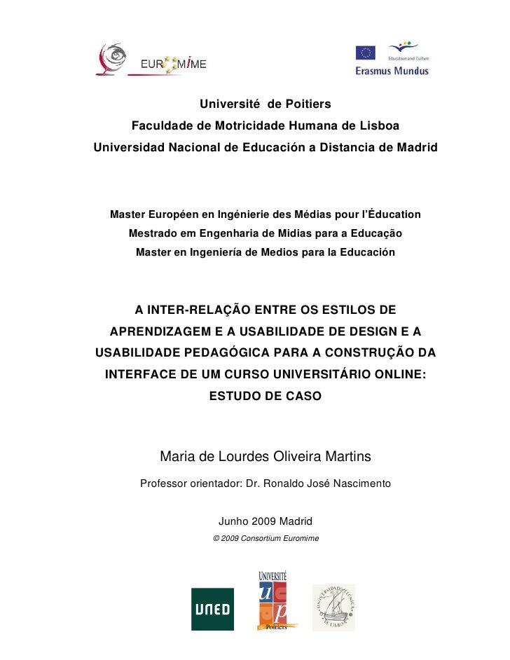 Université de Poitiers       Faculdade de Motricidade Humana de Lisboa Universidad Nacional de Educación a Distancia de Ma...