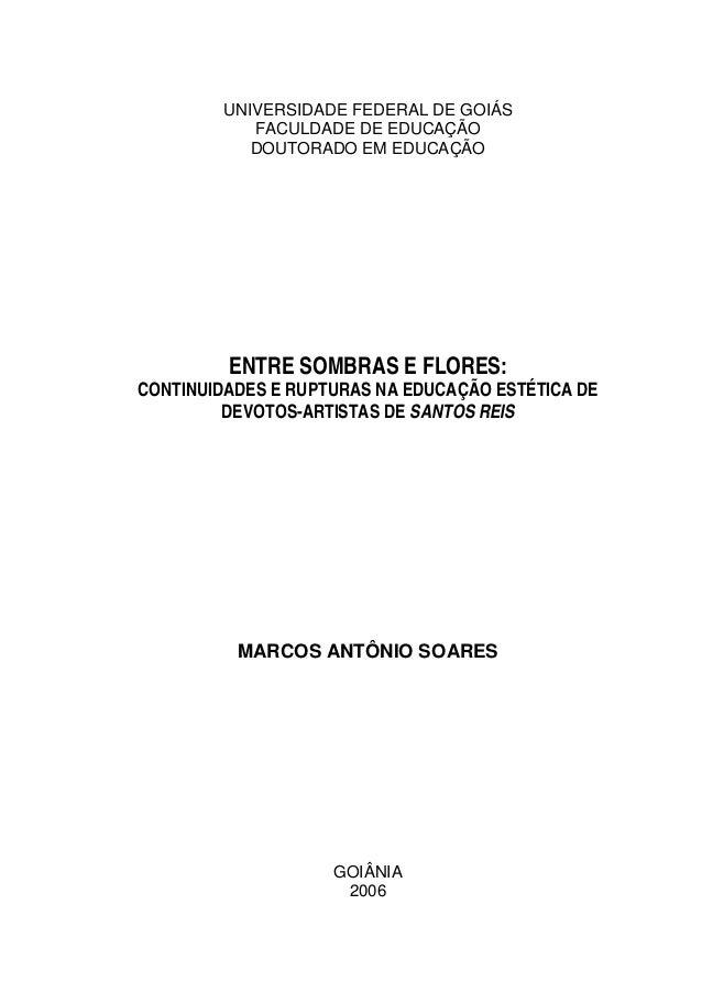UNIVERSIDADE FEDERAL DE GOIÁS FACULDADE DE EDUCAÇÃO DOUTORADO EM EDUCAÇÃO ENTRE SOMBRAS E FLORES: CONTINUIDADES E RUPTURAS...