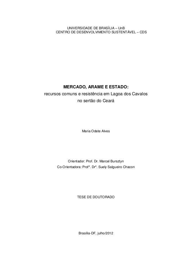 UNIVERSIDADE DE BRASÍLIA – UnBCENTRO DE DESENVOLVIMENTO SUSTENTÁVEL – CDSMERCADO, ARAME E ESTADO:recursos comuns e resistê...