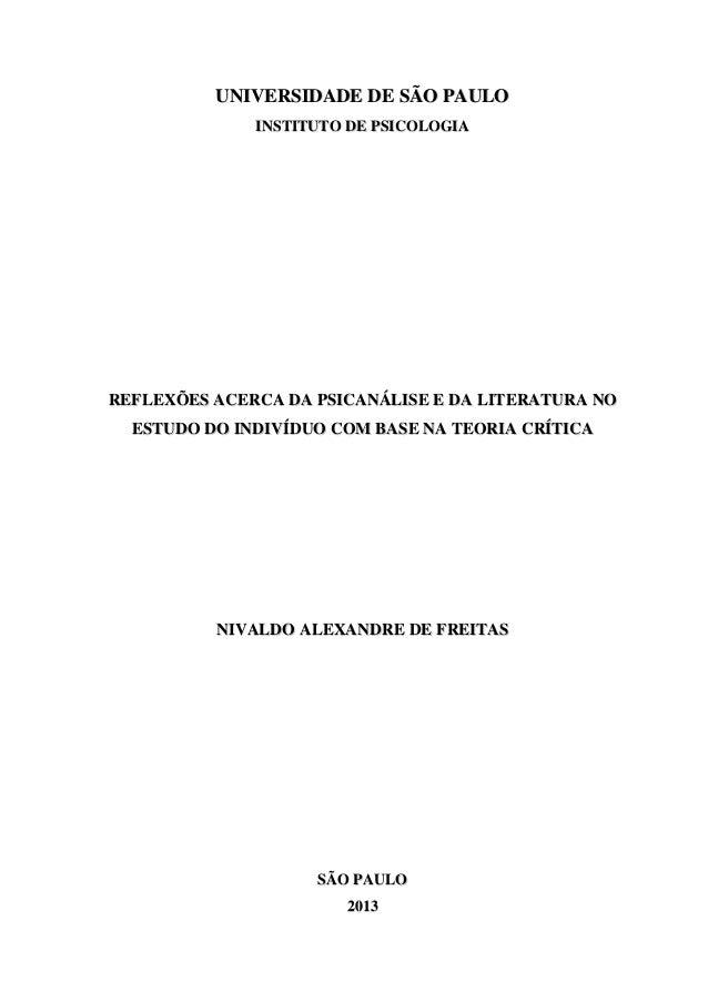 UUNNIIVVEERRSSIIDDAADDEE DDEE SSÃÃOO PPAAUULLOO IINNSSTTIITTUUTTOO DDEE PPSSIICCOOLLOOGGIIAA RREEFFLLEEXXÕÕEESS AACCEERRCC...