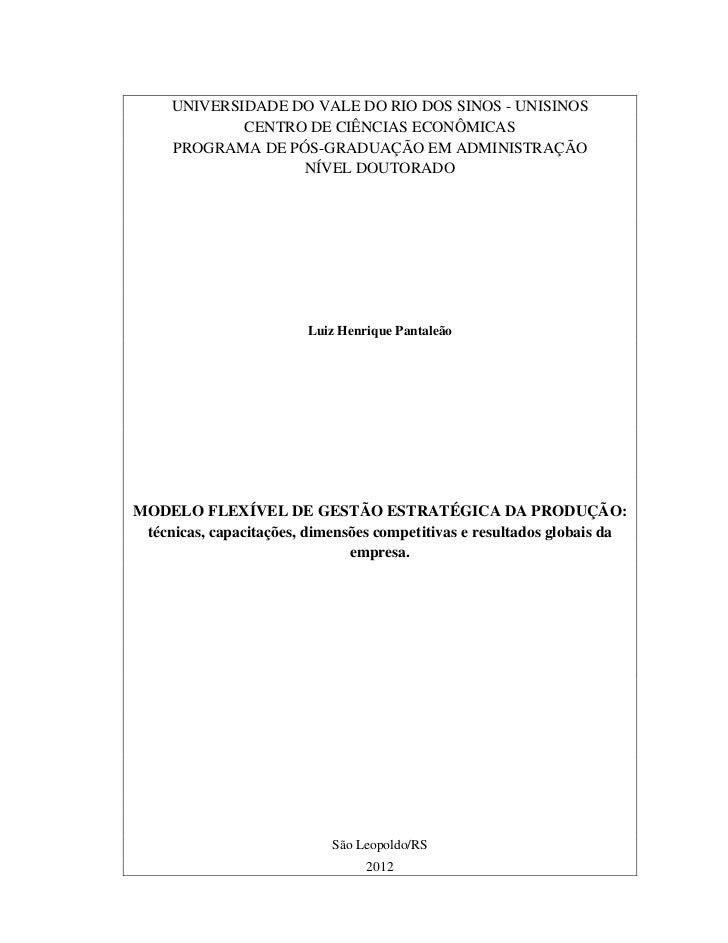 UNIVERSIDADE DO VALE DO RIO DOS SINOS - UNISINOS             CENTRO DE CIÊNCIAS ECONÔMICAS     PROGRAMA DE PÓS-GRADUAÇÃO E...
