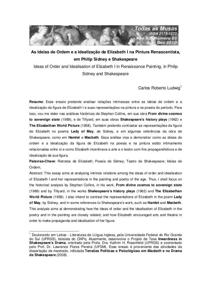 As Ideias de Ordem e a Idealização de Elizabeth I na Pintura Renascentista,                             em Philip Sidney e...