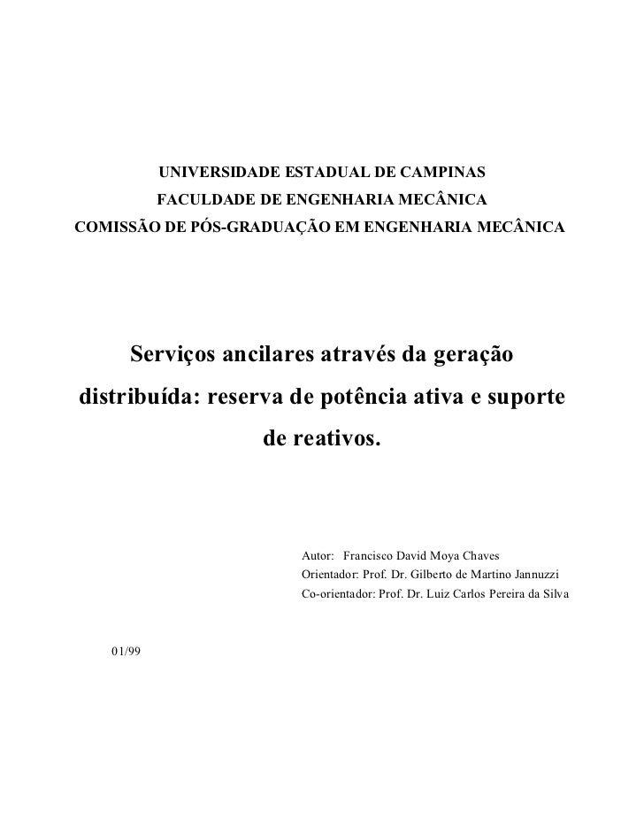 UNIVERSIDADE ESTADUAL DE CAMPINAS           FACULDADE DE ENGENHARIA MECÂNICACOMISSÃO DE PÓS-GRADUAÇÃO EM ENGENHARIA MECÂNI...