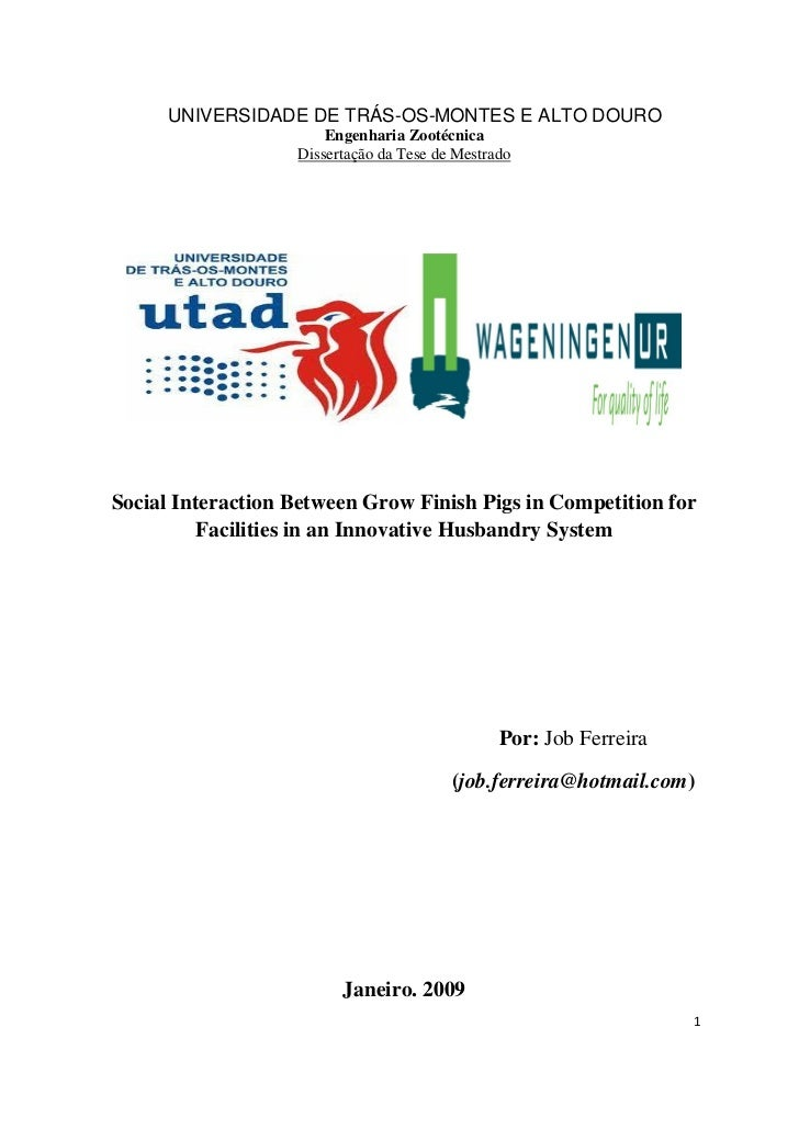 UNIVERSIDADE DE TRÁS-OS-MONTES E ALTO DOURO                       Engenharia Zootécnica                   Dissertação da T...