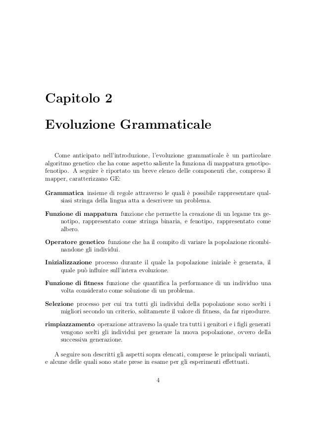 Analisi sperimentale comparativa dell evolvibilit nei sistemi di evo - Diversi analisi grammaticale ...
