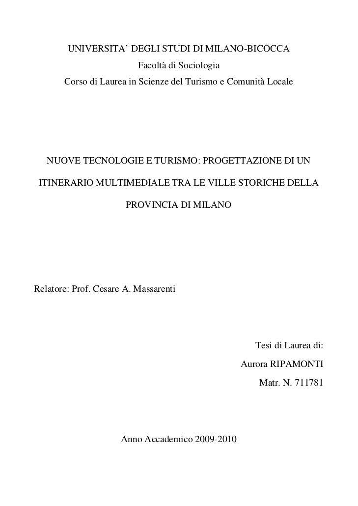 UNIVERSITA' DEGLI STUDI DI MILANO-BICOCCA                          Facoltà di Sociologia       Corso di Laurea in Scienze ...