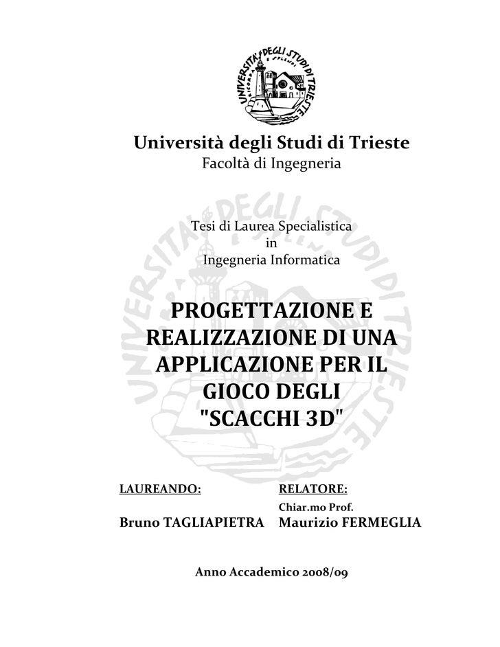 Università degli Studi di Trieste              Facoltà di Ingegneria            Tesi di Laurea Specialistica              ...