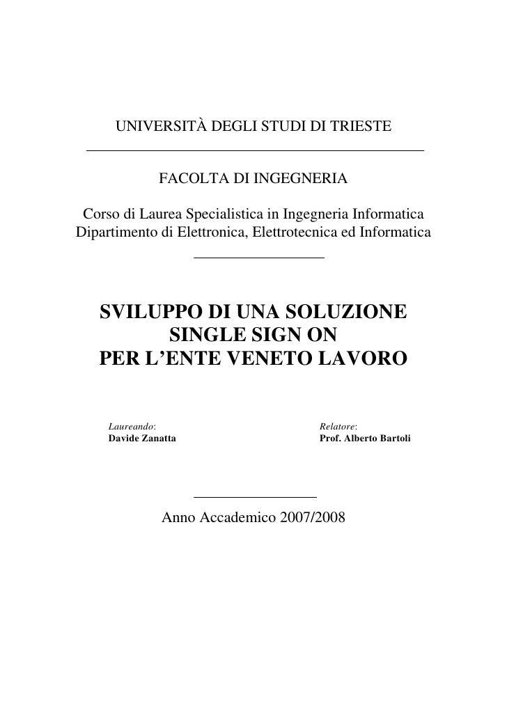 UNIVERSITÀ DEGLI STUDI DI TRIESTE                  FACOLTA DI INGEGNERIA   Corso di Laurea Specialistica in Ingegneria Inf...