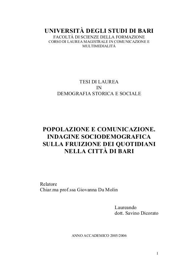 UNIVERSITÀ DEGLI STUDI DI BARI FACOLTÀ DI SCIENZE DELLA FORMAZIONE CORSO DI LAUREA MAGISTRALE IN COMUNICAZIONE E MULTIMEDI...