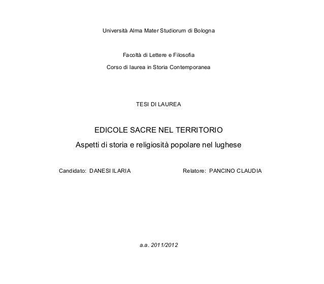 Università Alma Mater Studiorum di Bologna                      Facoltà di Lettere e Filosofia                Corso di lau...