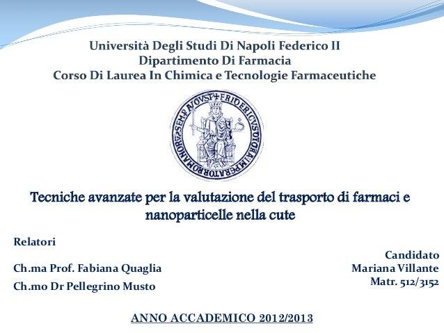 Tecniche avanzate per la valutazione del trasporto di farmaci e nanoparticelle nella cute Candidato Mariana Villante Matr....