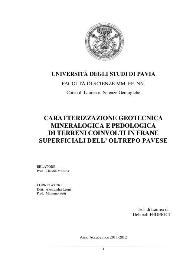UNIVERSITÀ DEGLI STUDI DI PAVIA                FACOLTÀ DI SCIENZE MM. FF. NN.                   Corso di Laurea in Scienze...