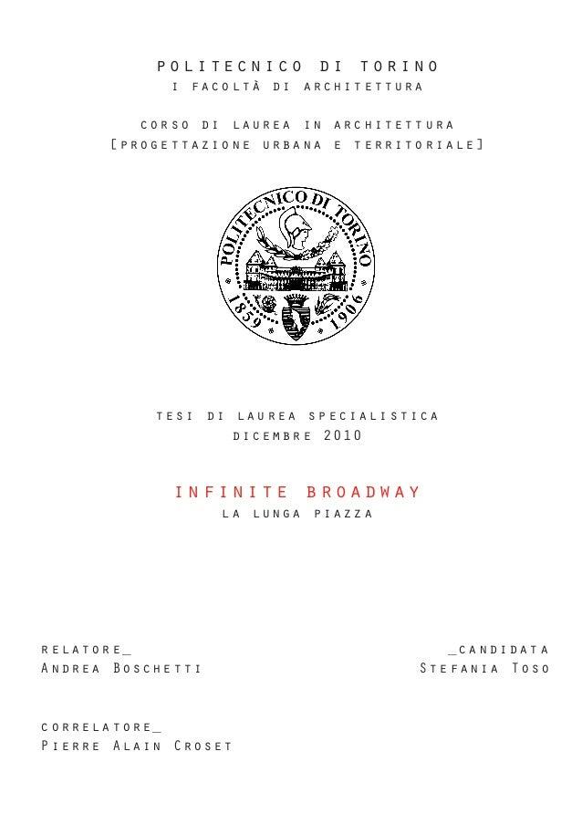 politecnico di torinoi facoltà di architetturacorso di laurea in architettura[progettazione urbana e territoriale]tesi di ...