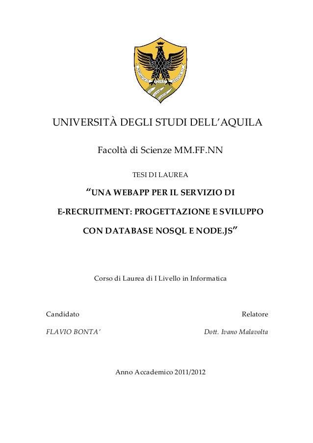 UNIVERSITÀ DEGLI STUDI DELL'AQUILA                       Facoltà di Scienze MM.FF.NN                       ...