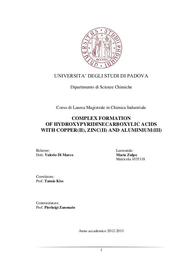 1 UNIVERSITA' DEGLI STUDI DI PADOVA Dipartimento di Scienze Chimiche Corso di Laurea Magistrale in Chimica Industriale COM...