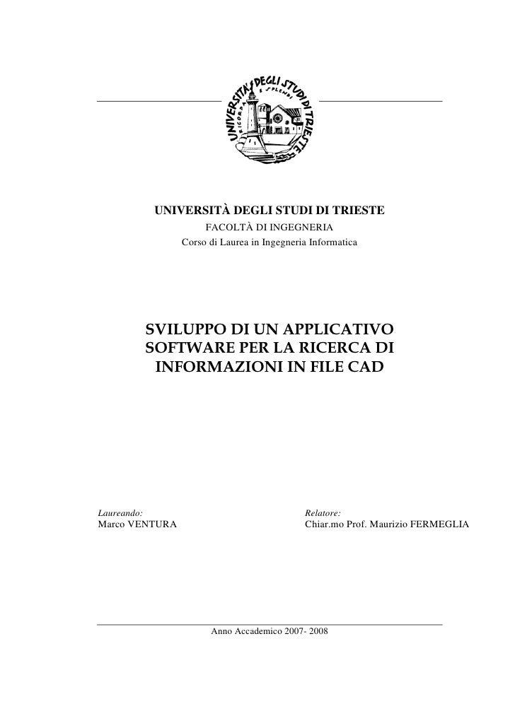 UNIVERSITÀ DEGLI STUDI DI TRIESTE                      FACOLTÀ DI INGEGNERIA                 Corso di Laurea in Ingegneria...