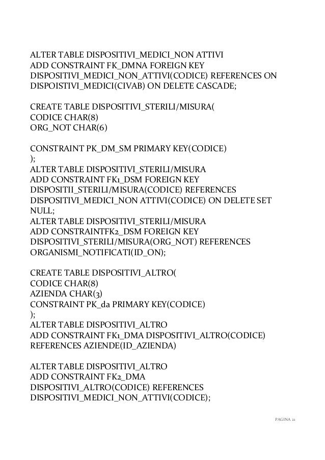 Basi di dati per la vendita e gestione dispositivi medici - Alter table add constraint primary key ...