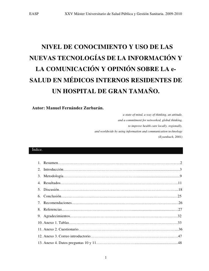 EASP                 XXV Máster Universitario de Salud Pública y Gestión Sanitaria. 2009-2010            NIVEL DE CONOCIMI...