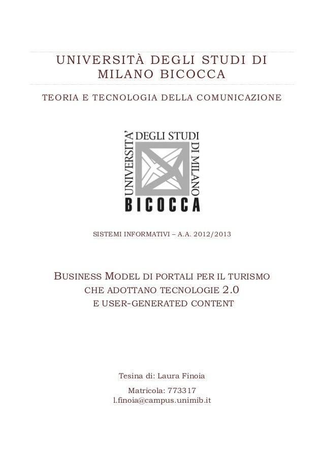 UNIVERSITÀ DEGLI STUDI DI MILANO BICOCCA TEORIA E TECNOLOGIA DELLA COMUNICAZIONE  SISTEMI INFORMATIVI – A.A. 2012/2013  BU...