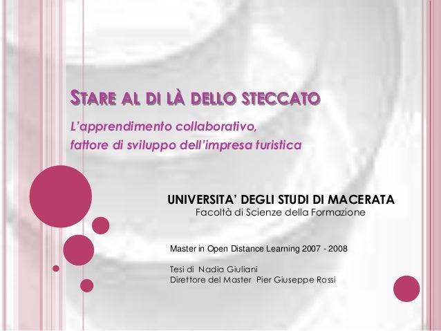 STARE AL DI LÀ DELLO STECCATO L'apprendimento collaborativo, fattore di sviluppo dell'impresa turistica  UNIVERSITA' DEGLI...