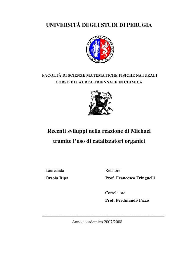 UNIVERSITÀ DEGLI STUDI DI PERUGIAFACOLTÀ DI SCIENZE MATEMATICHE FISICHE NATURALI      CORSO DI LAUREA TRIENNALE IN CHIMICA...