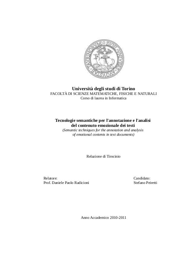 Università degli studi di Torino FACOLTÀ DI SCIENZE MATEMATICHE, FISICHE E NATURALI Corso di laurea in Informatica  Tecnol...