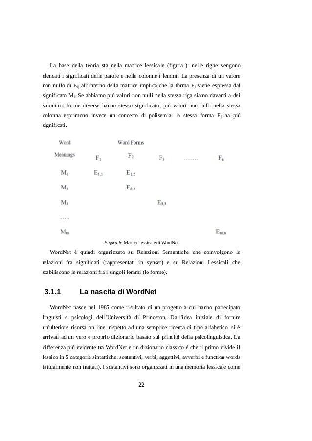 La base della teoria sta nella matrice lessicale (figura ): nelle righe vengono elencati i significati delle parole e nell...