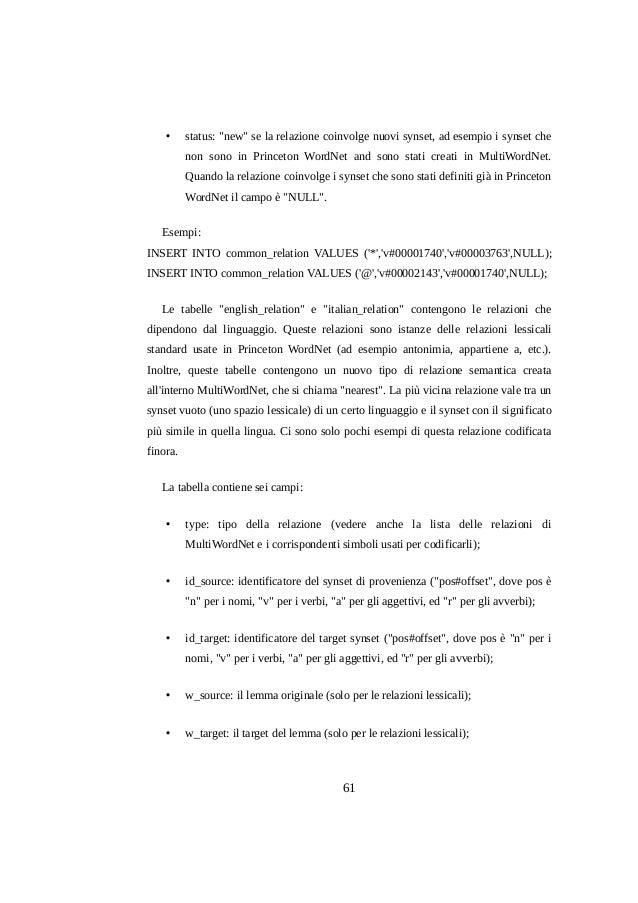 """•  status: """"new"""" se la relazione coinvolge nuovi synset, ad esempio i synset che non sono in Princeton WordNet and sono st..."""