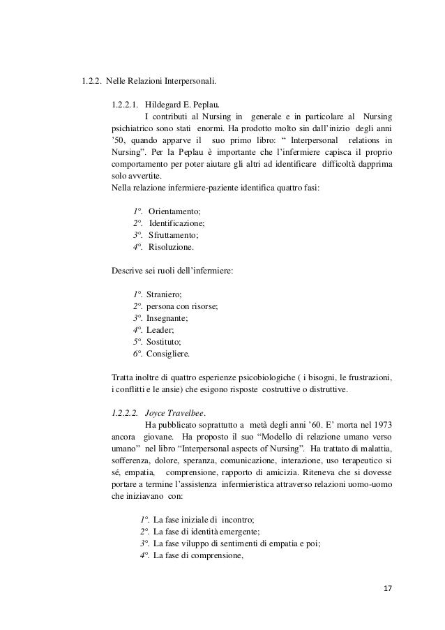 17  1.2.2. Nelle Relazioni Interpersonali.  1.2.2.1. Hildegard E. Peplau.  I contributi al Nursing in generale e in partic...