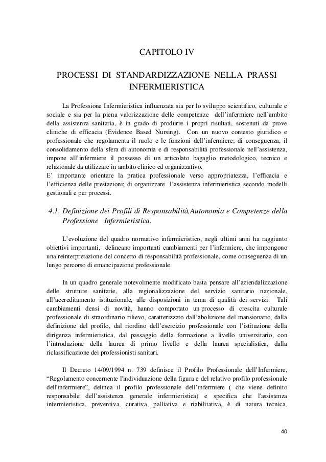 40  CAPITOLO IV  PROCESSI DI STANDARDIZZAZIONE NELLA PRASSI INFERMIERISTICA  La Professione Infermieristica influenzata si...