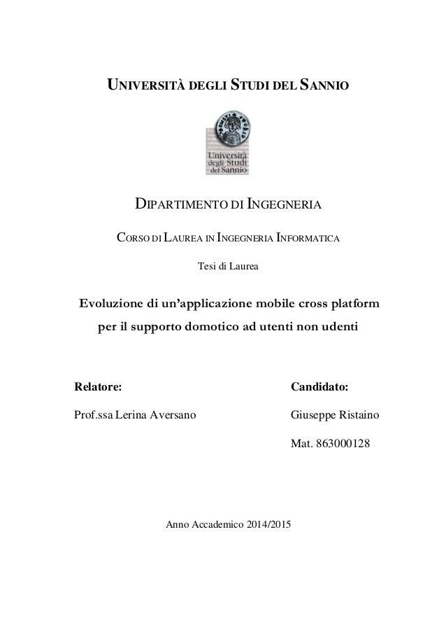 1 UNIVERSITÀ DEGLI STUDI DEL SANNIO DIPARTIMENTO DI INGEGNERIA CORSO DI LAUREA IN INGEGNERIA INFORMATICA Tesi di Laurea Ev...