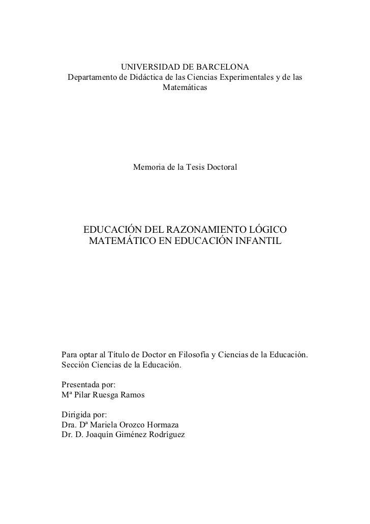 UNIVERSIDAD DE BARCELONA Departamento de Didáctica de las Ciencias Experimentales y de las                          Matemá...
