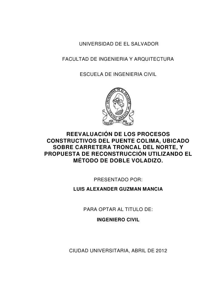 UNIVERSIDAD DE EL SALVADOR     FACULTAD DE INGENIERIA Y ARQUITECTURA          ESCUELA DE INGENIERIA CIVIL      REEVALUACIÓ...
