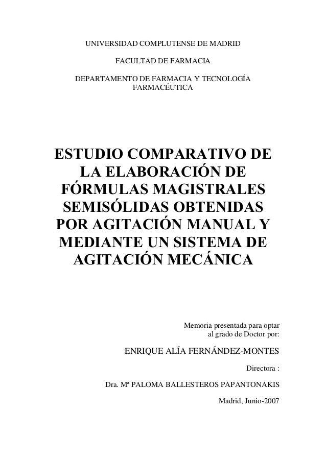 UNIVERSIDAD COMPLUTENSE DE MADRID          FACULTAD DE FARMACIA  DEPARTAMENTO DE FARMACIA Y TECNOLOGÍA             FARMACÉ...