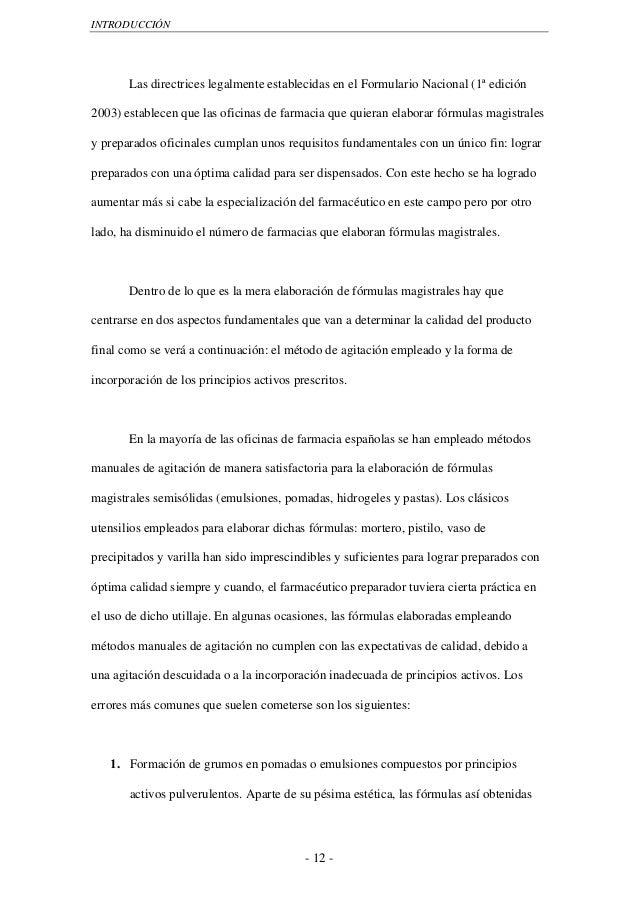 INTRODUCCIÓN       Las directrices legalmente establecidas en el Formulario Nacional (1ª edición2003) establecen que las o...