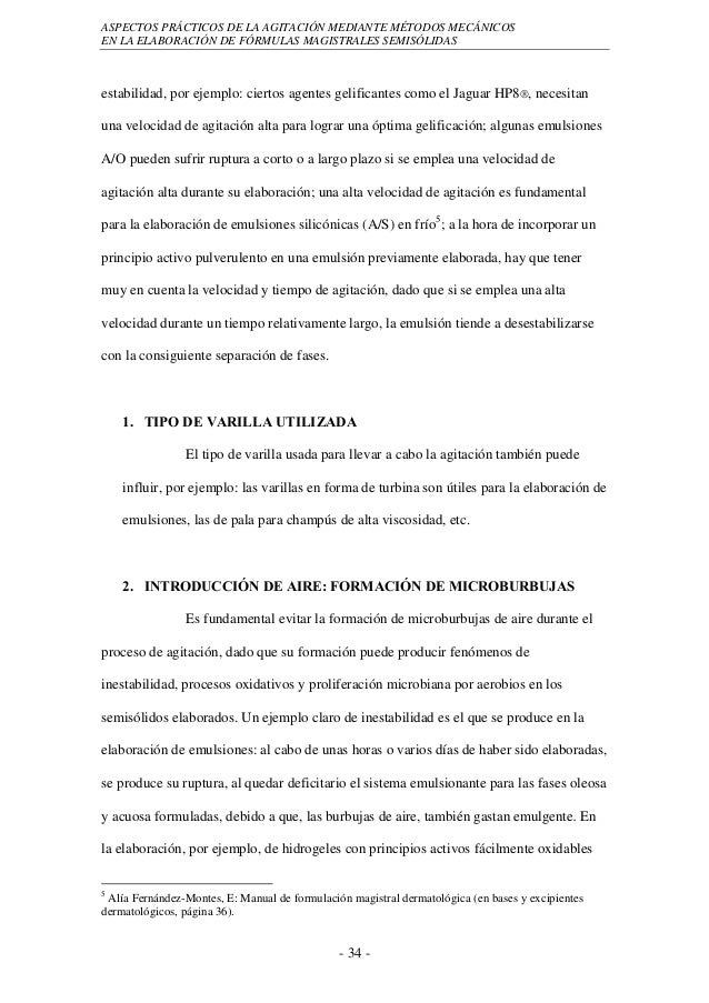 ASPECTOS PRÁCTICOS DE LA AGITACIÓN MEDIANTE MÉTODOS MECÁNICOSEN LA ELABORACIÓN DE FÓRMULAS MAGISTRALES SEMISÓLIDASestabili...