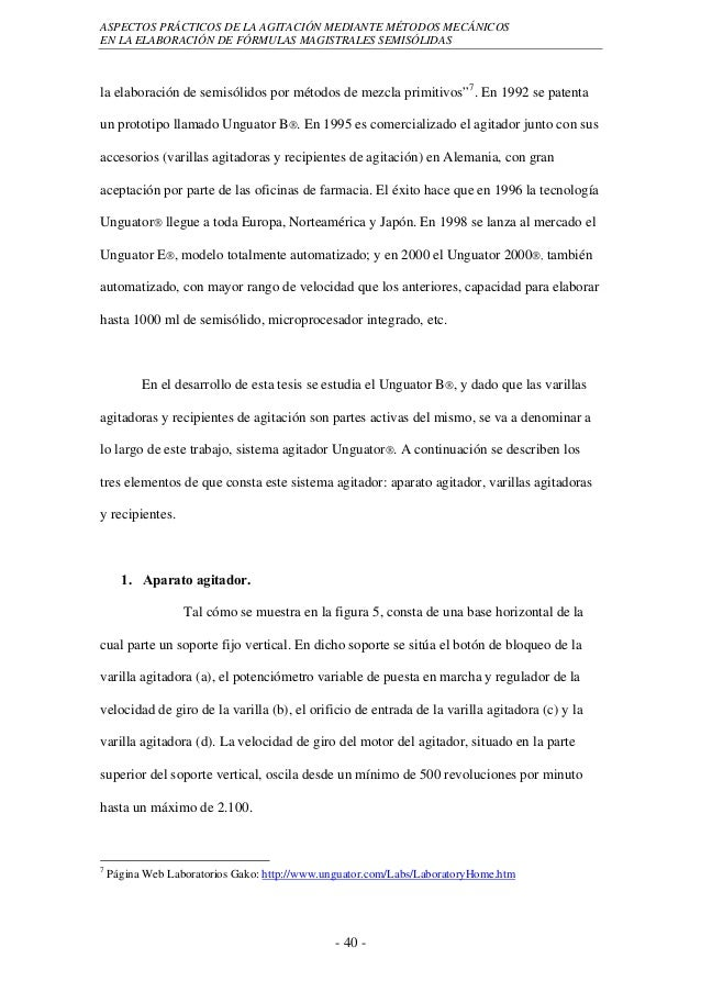 ASPECTOS PRÁCTICOS DE LA AGITACIÓN MEDIANTE MÉTODOS MECÁNICOSEN LA ELABORACIÓN DE FÓRMULAS MAGISTRALES SEMISÓLIDASla elabo...