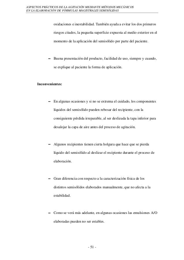 ASPECTOS PRÁCTICOS DE LA AGITACIÓN MEDIANTE MÉTODOS MECÁNICOSEN LA ELABORACIÓN DE FÓRMULAS MAGISTRALES SEMISÓLIDAS        ...