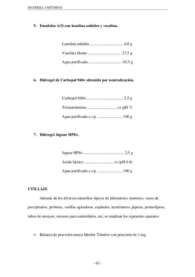MATERIAL Y MÉTODOS   5. Emulsión A/O con lanolina anhidra y vaselina.                      Lanolina anhidra .................