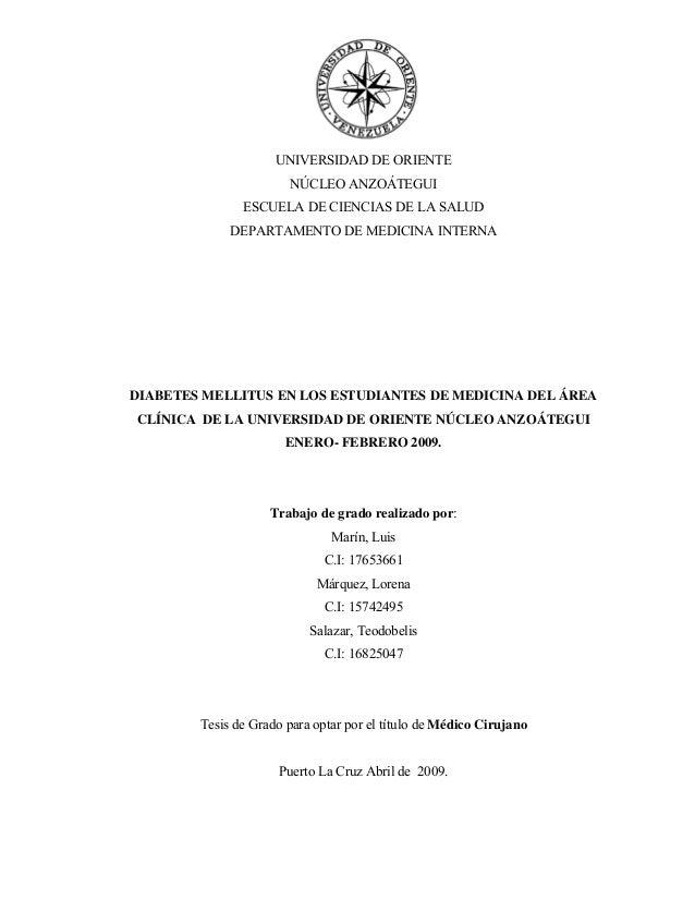 UNIVERSIDAD DE ORIENTE NÚCLEO ANZOÁTEGUI ESCUELA DE CIENCIAS DE LA SALUD DEPARTAMENTO DE MEDICINA INTERNA DIABETES MELLITU...