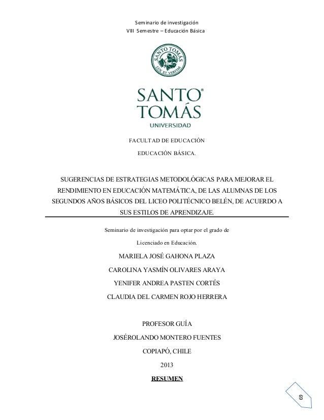 Seminario de investigación VIII Semestre – Educación Básica  FACULTAD DE EDUCACIÓN EDUCACIÓN BÁSICA.  SUGERENCIAS DE ESTRA...