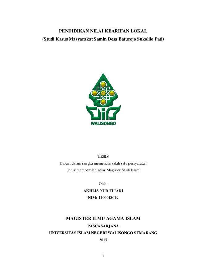 Tesis Akhlis Nur Fu Adi Pendidikan Nilai Kearifan Lokal Uin Walisongo