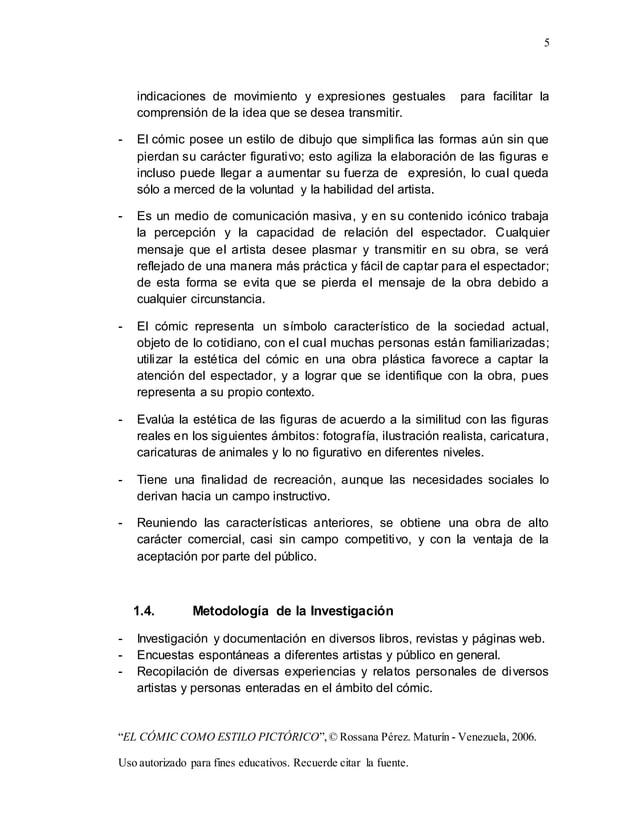 """5 """"EL CÓMIC COMO ESTILO PICTÓRICO"""",© Rossana Pérez. Maturín - Venezuela, 2006. Uso autorizado para fines educativos. Recue..."""