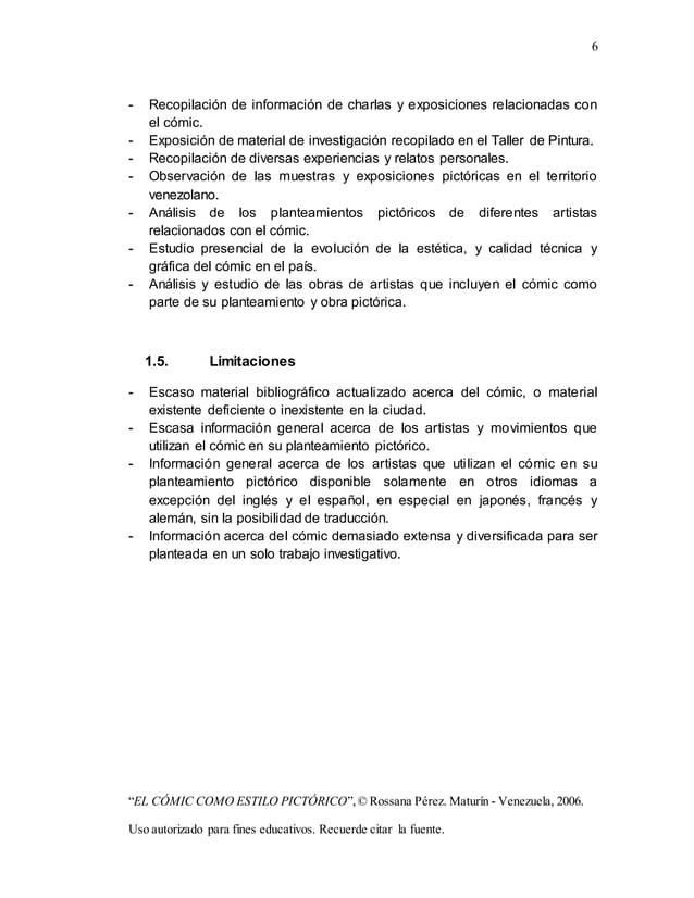"""6 """"EL CÓMIC COMO ESTILO PICTÓRICO"""",© Rossana Pérez. Maturín - Venezuela, 2006. Uso autorizado para fines educativos. Recue..."""