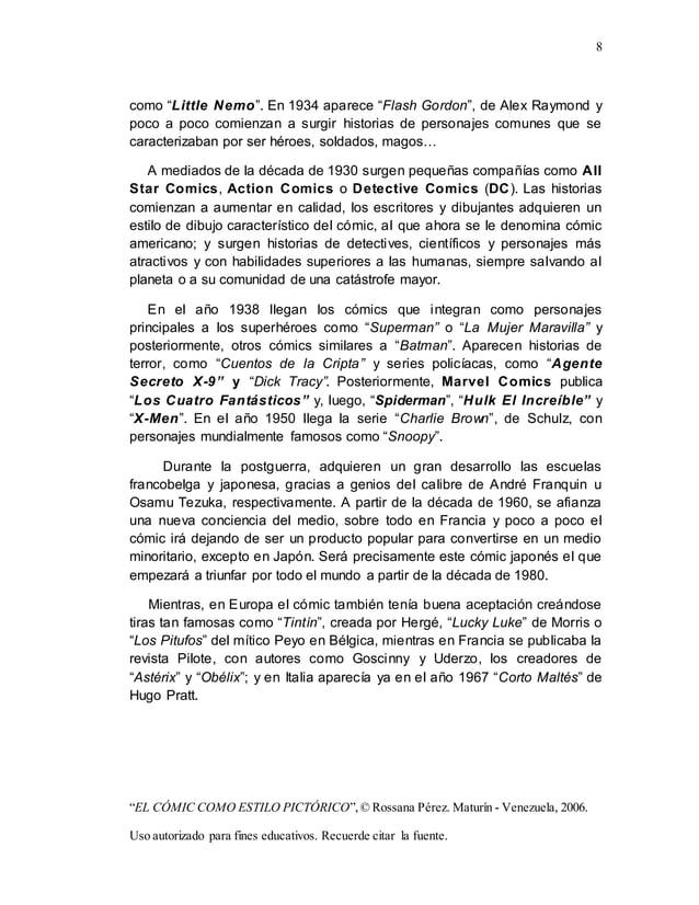 """8 """"EL CÓMIC COMO ESTILO PICTÓRICO"""",© Rossana Pérez. Maturín - Venezuela, 2006. Uso autorizado para fines educativos. Recue..."""