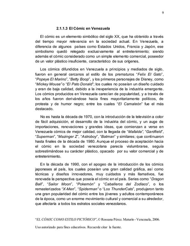 """9 """"EL CÓMIC COMO ESTILO PICTÓRICO"""",© Rossana Pérez. Maturín - Venezuela, 2006. Uso autorizado para fines educativos. Recue..."""