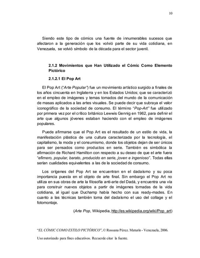 "10 ""EL CÓMIC COMO ESTILO PICTÓRICO"",© Rossana Pérez. Maturín - Venezuela, 2006. Uso autorizado para fines educativos. Recu..."