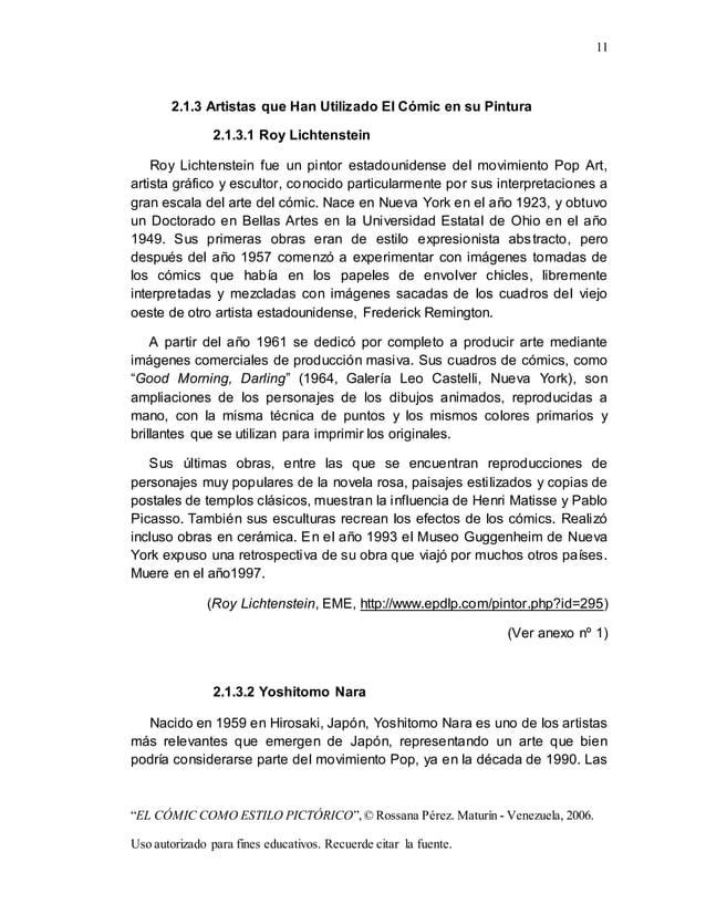 "11 ""EL CÓMIC COMO ESTILO PICTÓRICO"",© Rossana Pérez. Maturín - Venezuela, 2006. Uso autorizado para fines educativos. Recu..."