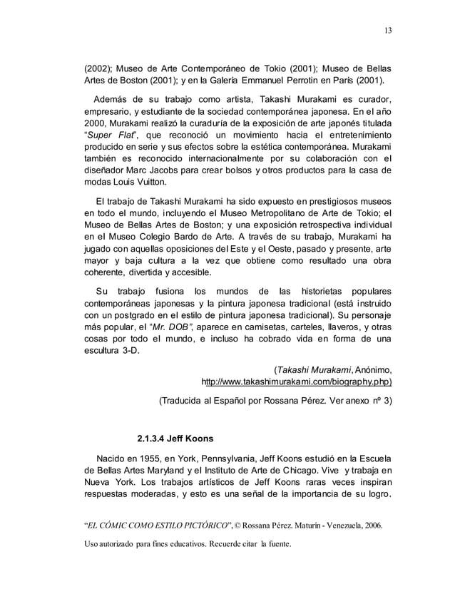"13 ""EL CÓMIC COMO ESTILO PICTÓRICO"",© Rossana Pérez. Maturín - Venezuela, 2006. Uso autorizado para fines educativos. Recu..."