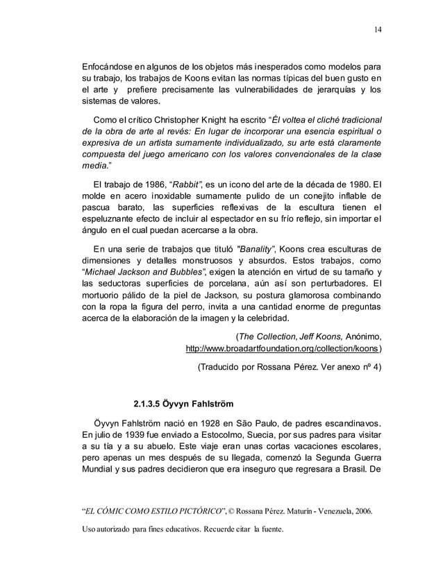"14 ""EL CÓMIC COMO ESTILO PICTÓRICO"",© Rossana Pérez. Maturín - Venezuela, 2006. Uso autorizado para fines educativos. Recu..."